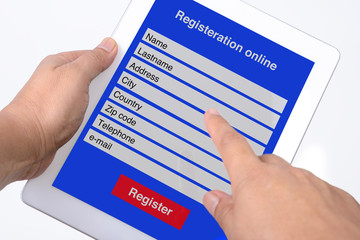 Registration online from by tablet.