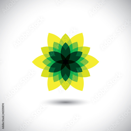 green flower icon made of illusory & fantasy leaves - eco concep