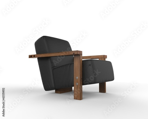 Black Armchair Vintage Side View