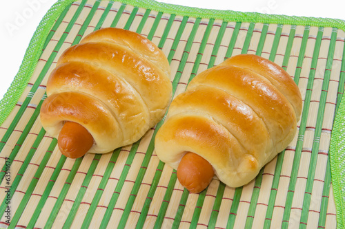 sausage buns bamboo mat  isolated