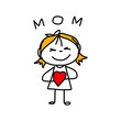 hand drawing cartoon concept happy mother's day