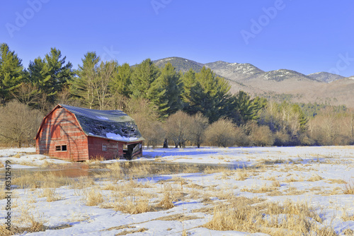 Old Barn and Rural Landscape in the mountains