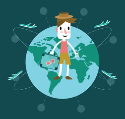 Young man travel around the world. Vector