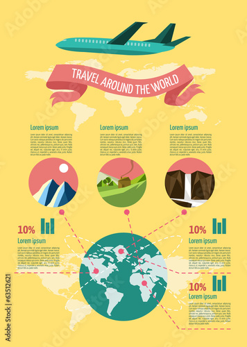 Travel Info graphic set.  Vector illustration.