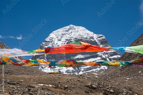 Prayer flags, with holy Mt. Kailash in background, Tibet