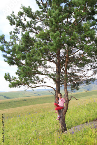 Little girl sitting on a pine tree on the top of the Altai Mount
