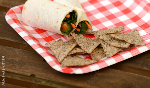 vegan wrap and tortilla chips