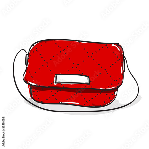 Hand drawn woman red shoulder leather bag on white