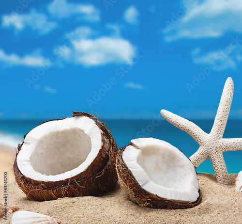 chopped coconut on sea-beach background