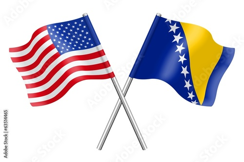 Flags: the United States and Bosnia-Herzegovina