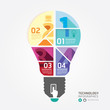 Modern Design Minimal style infographic template with light bulb