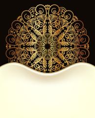 Beautiful invitation card. White, black and gold design