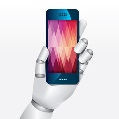 robot hand hold smartphone design vector illustration concept.