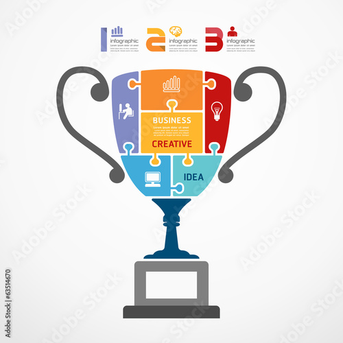 infographic Template with trophy jigsaw banner . concept vector