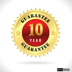 gold top quality 10 year guarantee badge- vector eps 10