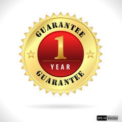 gold top quality 1 year guarantee badge- vector eps 10