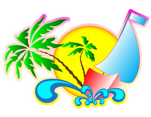 background vector: on vacation at sea