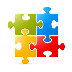 Colorful Puzzle Vector Illustration on White Background