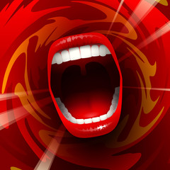 Open mouth shouting or singing in red space; Eps10