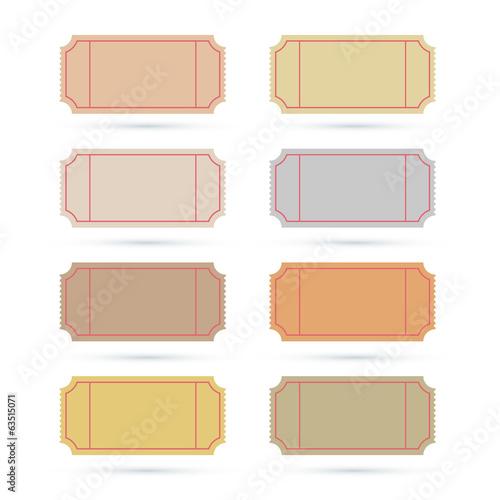 Vector Ticket Set Illustration Isolated on White Background