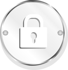 Closed lock glossy button isolated over white background