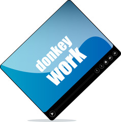 Video player for web with donkey work words