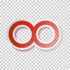 Red Paper Vector Infinity Symbol on Transparent Background