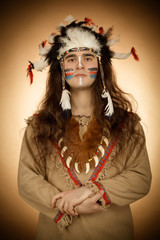 Native american men toned image vintage style
