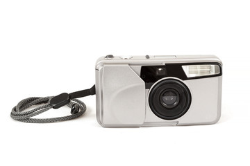 analog photo camera on white