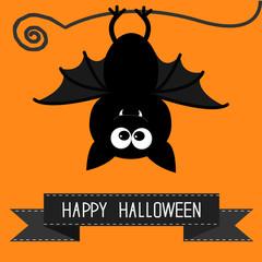 Cute bat and black ribbon. Happy Halloween card.