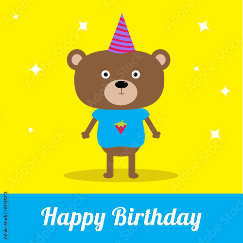 Cute cartoon bear with hat. Happy Birthday party card.
