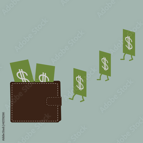 Dollar money and wallet. Flat design style.