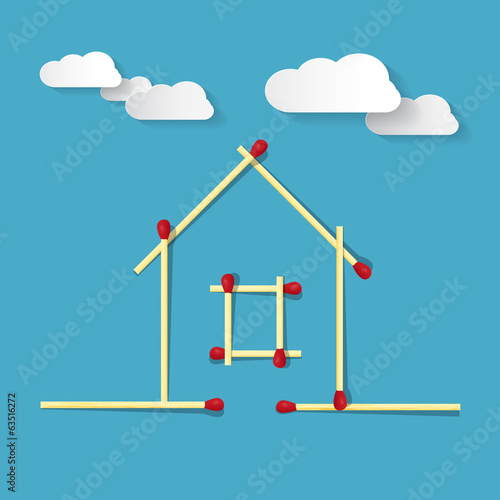 House Symbol Made from Matches on Blue Background