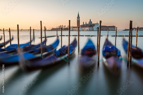 Grand Canal Embankment and San Giorgio Maggiore Church at Dawn,