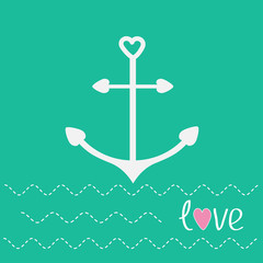 Anchor with shapes of heart and dash line waves. Love card.