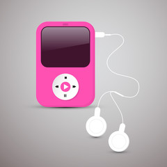 Pink Vector Mp3 Player Illustration with White Headphones