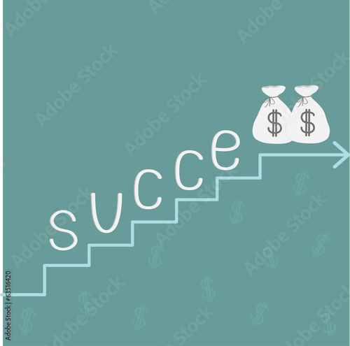 Stairs word success and money bags with dollar sign.