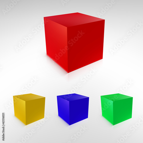 Cubes with reflections and shadows.