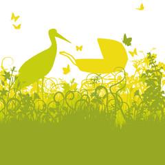 Storch und Kinderwagen im verwunschenen Garten