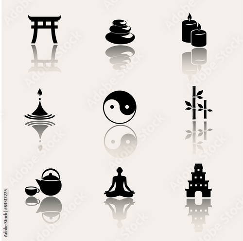 Meditation, yoga, buddism vector icon set.