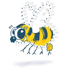 Punktzeichnung mit lustiger Biene