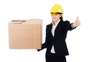 Young businesswoman with box isolated on white
