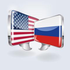 Sprechblasen mit USA und Russland