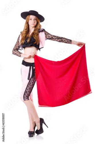 Staande foto Stierenvechten Redhead woman toreador isolated on white