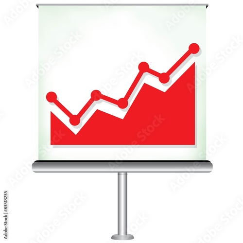 projection screen with red increasing graph