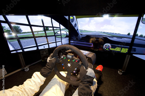 Fotobehang Motorsport Wheel in a simulator