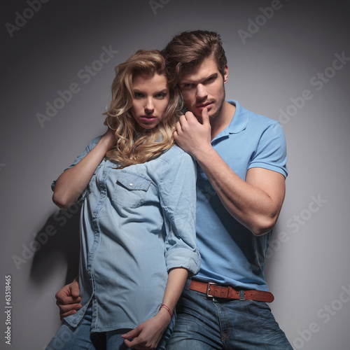 sensual casual couple in a provocative pose