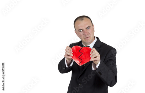 Angry man braking a heart