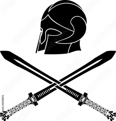 fantasy barbarian helmet with swords. stencil. fifth variant
