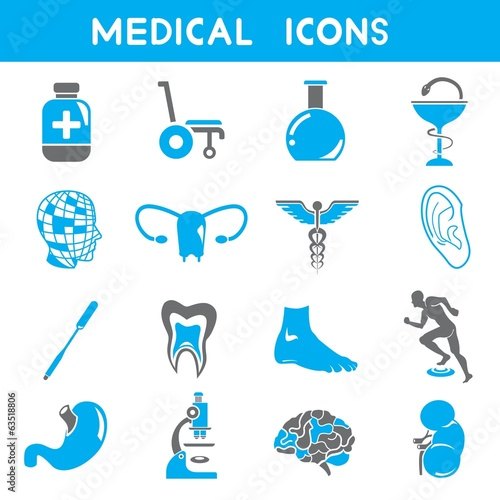 medical icons, blue color icons